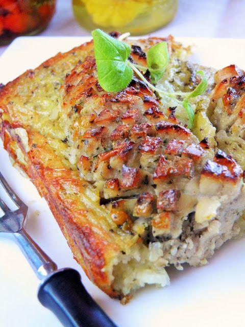 Sio-smutki: Zapiekanka z tartych ziemniaków z białą kiełbasą