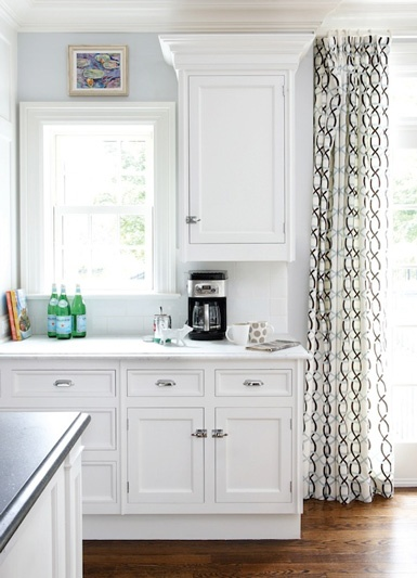 Love the black and white curtains with the light blue for Kitchen white cabinets blue walls