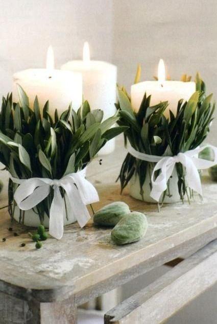 Decoración de velas centros de mesa, laurel, olivo...