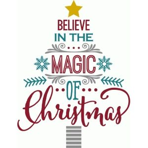 Silhouette Design Store: believe in magic of christmas - word tree