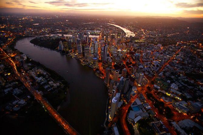 Brisbane River aerial at night