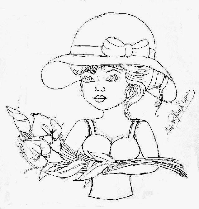 pintura flores riscos   desenho de boneca com ramo de copos de leite para pintar em pano de ...