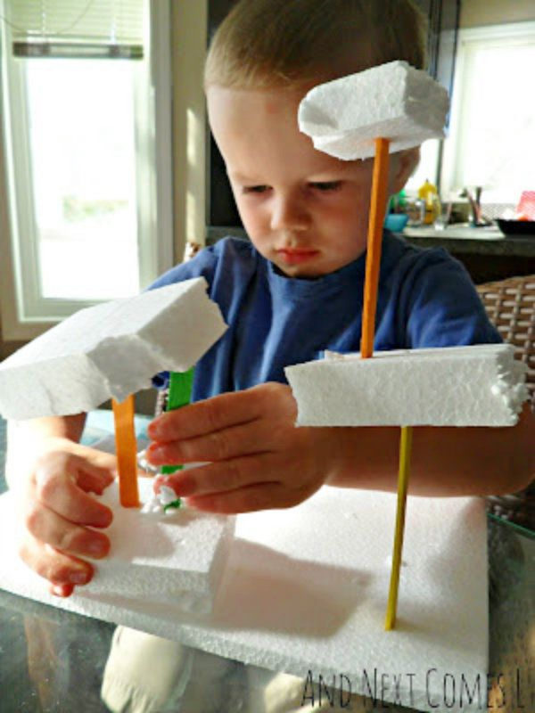 Building with Styrofoam and Colored Craft Sticks