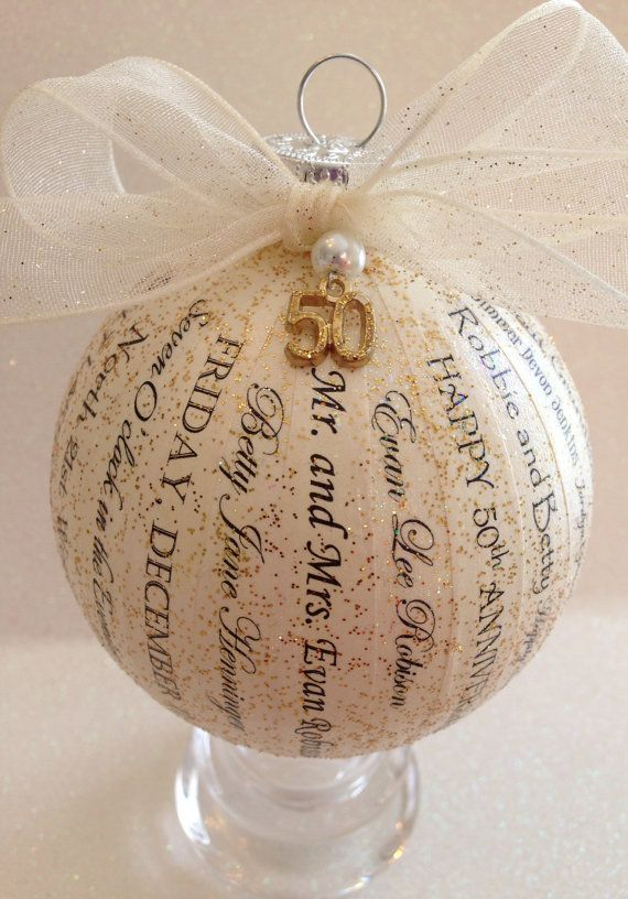 50th Anniversary Gift For Parents Friends Personalized Ornament Golden Idea 25th 30th 40th 60th