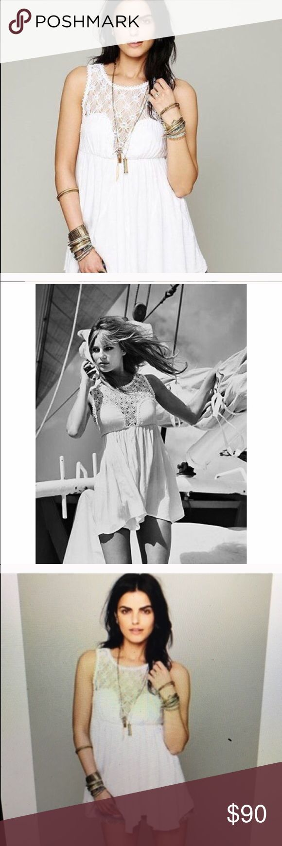 Free People Lolita Syndrome Dress white New Lolita Syndrome dress in white super cute with shorts jeans or alone Free People Dresses Mini