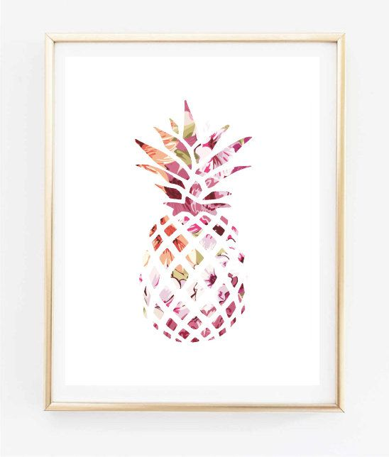 Exceptional Floral Pineapple Painting Art Print Room Decor Typographic Part 24