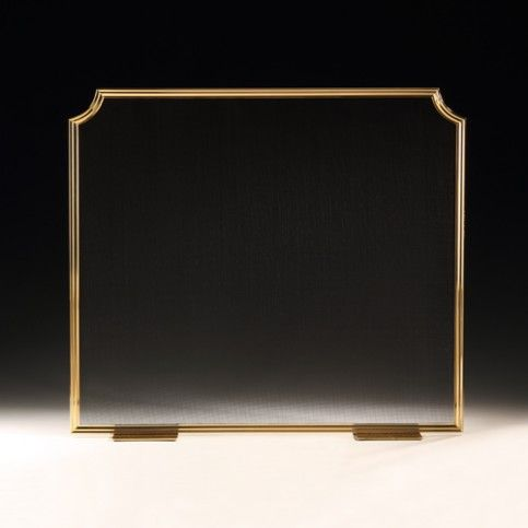 THE WELL APPOINTED HOUSE - Lacquered Brass Fireplace Screen with Black Mesh