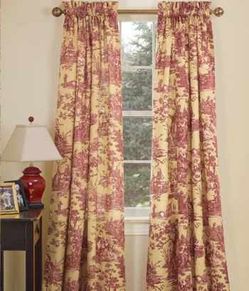 Country Day Toile Rod Pocket Curtains
