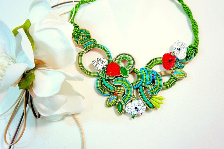 Collana soutache- spring/summer 2016-handmade jewel-colori di stagione-collezione estate 2016 di SelenKhloeJewelry su Etsy