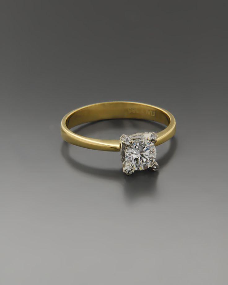 Μονόπετρο δαχτυλίδι χρυσό Κ14 με Ζιργκόν