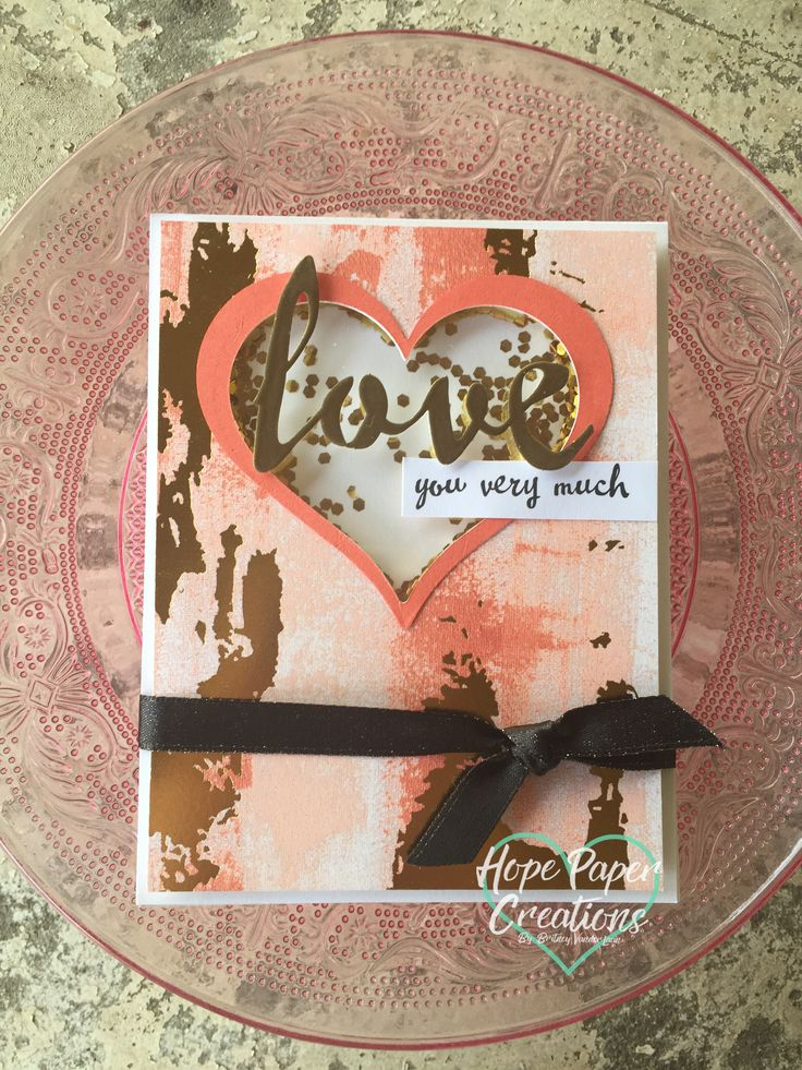 Handmade gold glitter shaker card using Stampin' Up!'s Painted with Love designer series paper from the Occasions Catalog 2018! Check out my Hope Paper Creations blog for more details.  Also check out the newest Inspire.Create.Challenge blog post to see the other design team's Love themed creations!