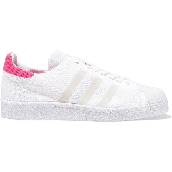 ADIDAS ORIGINALS   Superstar two-tone stretch-knit sneakers (575 GTQ) ❤ liked on Polyvore featuring shoes, sneakers, fuschia shoes, round cap, white lace up sneakers, white sneakers and fuchsia shoes