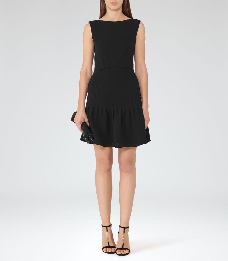 Marisa Black Pin-Tuck Dress - REISS