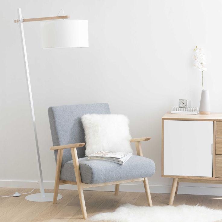 Lámpara de pie de metal y algodón blanco Al. 170 cm KLARA | Maisons du Monde