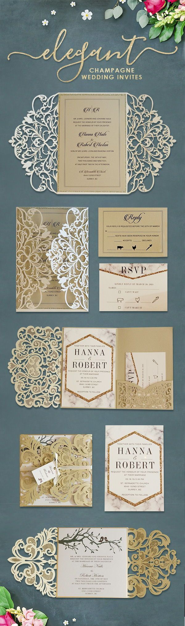 diy wedding invitations kits south africa%0A luxury champagne gold glitter trifold laser cut pocket wedding invite with  belly band EWWS    as low as