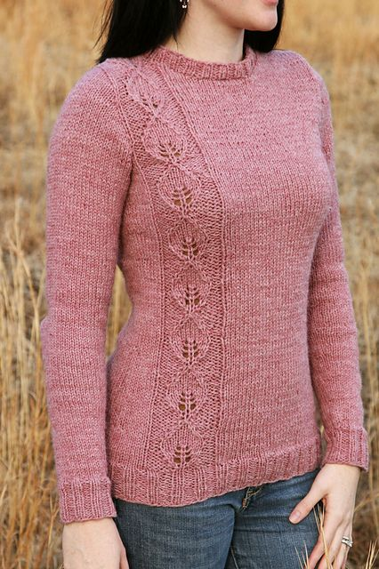 Free knitting pattern for pullover sweater with leaf lace motif Waiting For Spring Sweater pattern by Susan Dempster. This and more pullover sweater knitting patterns at http://intheloopknitting.com/long-sleeve-pullover-sweater-knitting-patterns/