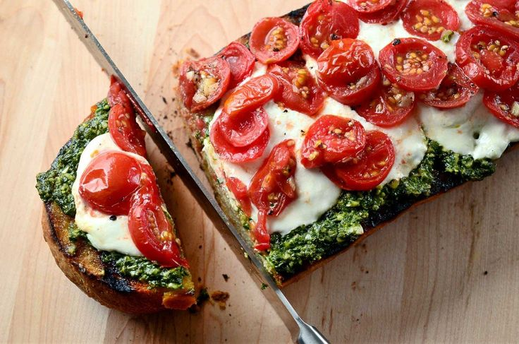 Grilled Bread with Pesto, Burrata and Tomatoes recipe