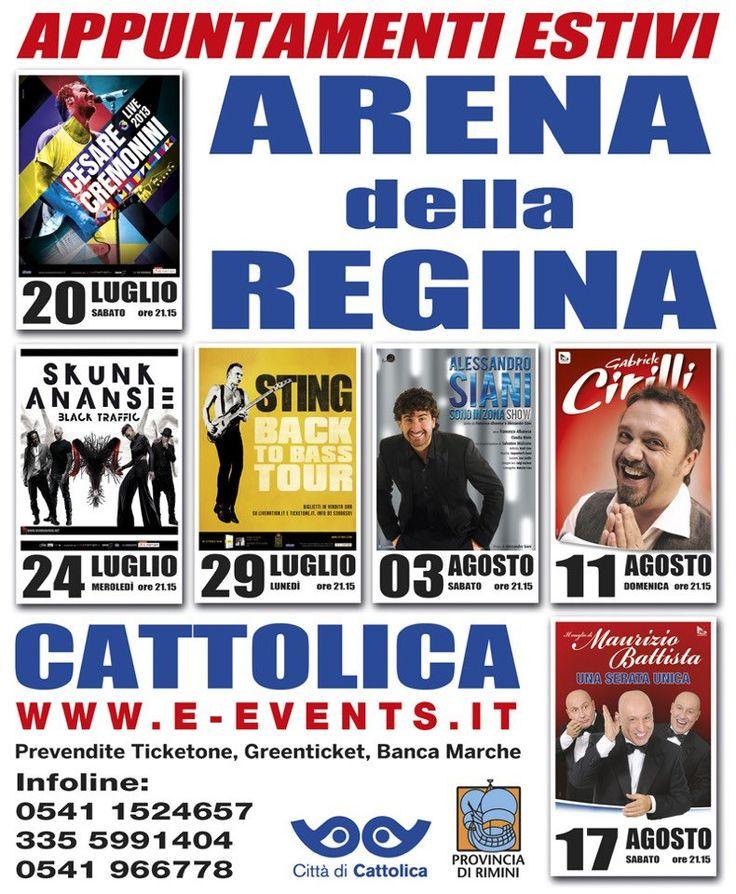 Programma 2013 concerti e spettacoli Arena della Regina | Programme of concerts and events in Arena of Cattolica