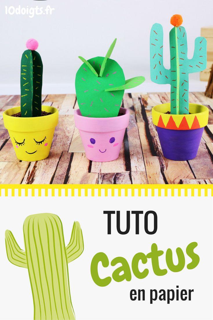 Fabriquez des jolis cactus avec une feuille en papier, une paire de ciseaux et un pot en terre cuite. Une activité haute en couleurs, facile et très tendance à faire avec les enfants. #cactus #cactuslover #DIY #craft #kids #bricolage #enfants