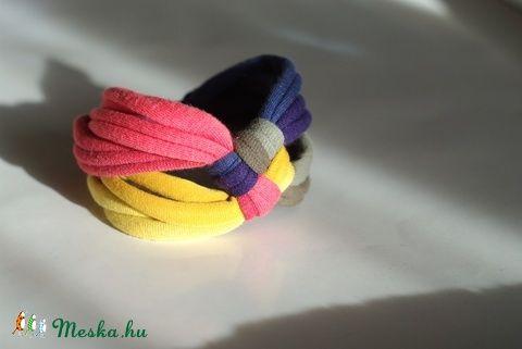 DIAGONAL - textil karkötő, acélkék/okker/lazac/keki (cirrhopp) - Meska.hu