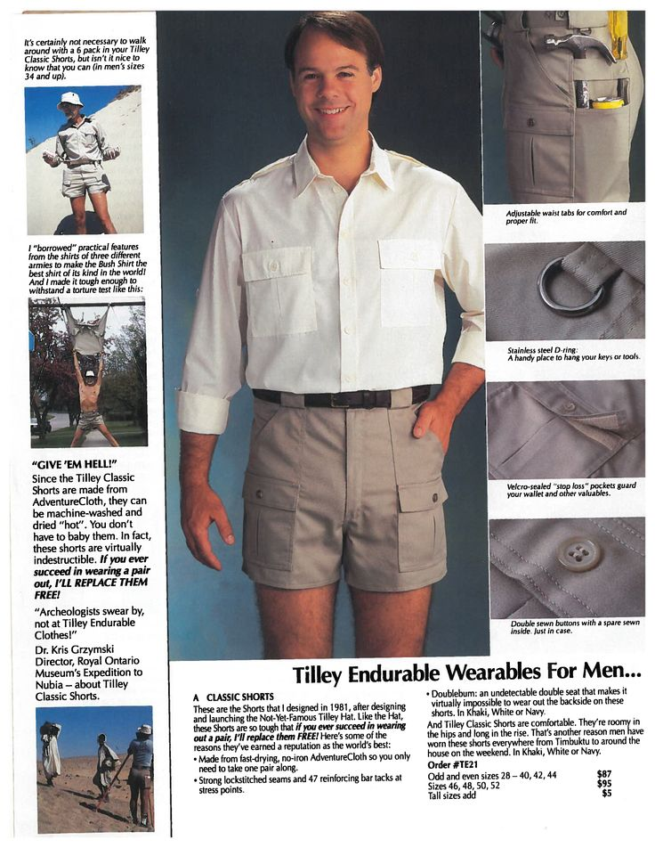 For Throwback Thursday we present our Classic shorts - stylishly modelled here in our 1991 catalogue. Our favourite part of this picture? The hammer, screwdriver & pop can demo in the upper right corner. Created in 1981, featured here in 1991 & guess what? We're still making these aptly named shorts in 2015 and they STILL have the lifetime guarantee too!
