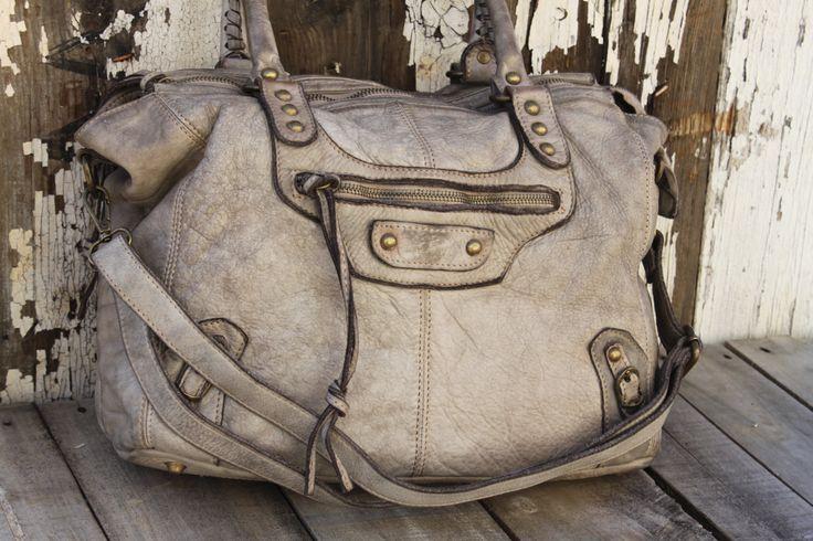 "Stone Italian Leather Handbag ""Limited Edition"""