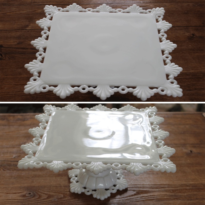 "RING AND PETAL-MILK GLASS by WESTMORELAND CRYSTAL milk glass cake stand - measures 11"" x 11"", 9"" on flat part and stands 4.5"" tall-"