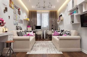 Дизайн интерьера детской комнаты для двух девочек подростков