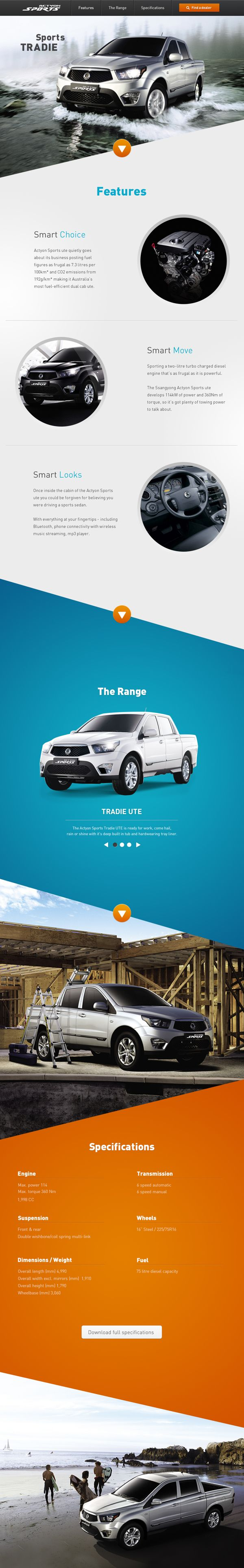 Ssangyong Actyon Sports website on Behance