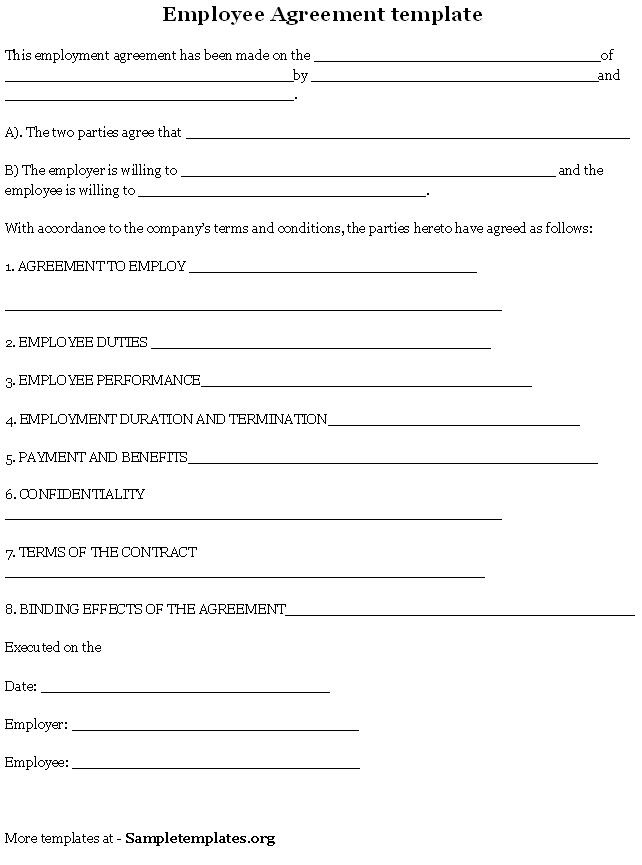 Employee Agreement Template Employee Agreement Template