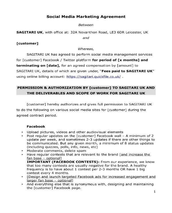 28 Social Media Management Contract Template In 2020 Contract