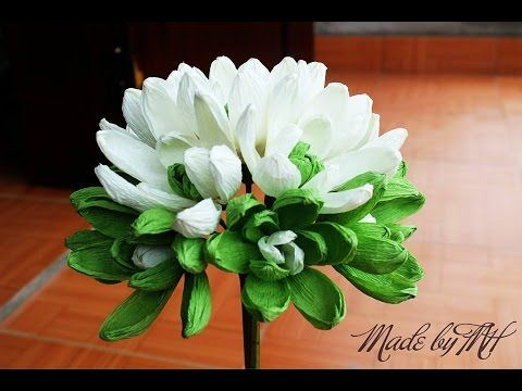 [How to make] Magnolia Sieboldii paper flower - Hướng dẫn làm hoa mộc lan bằng giấy nhún - YouTube