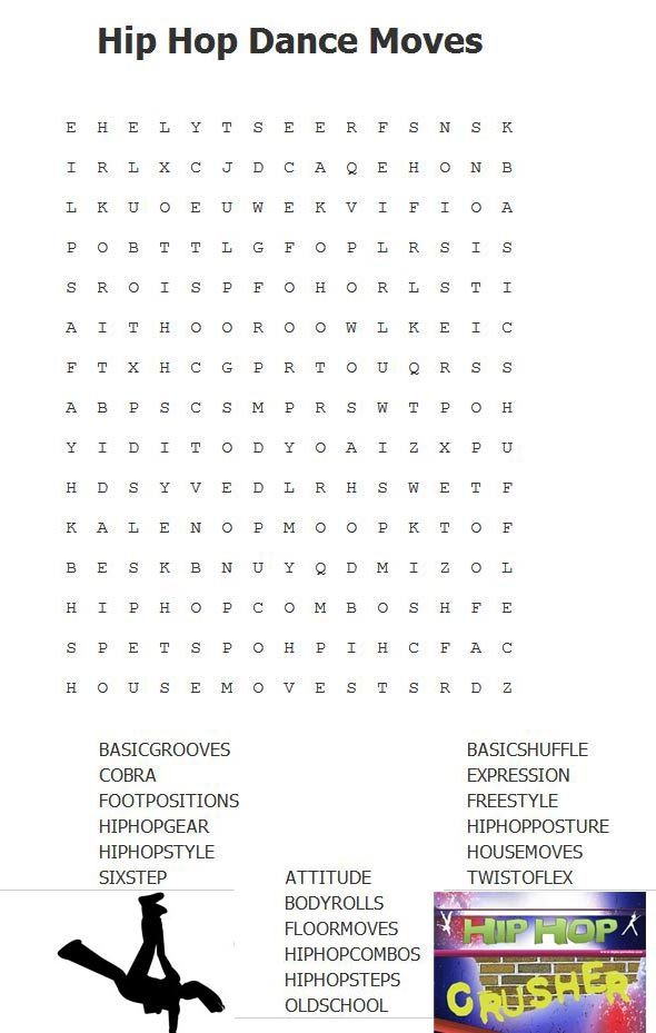 Hip Hop Dance Moves Word Search