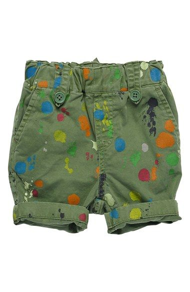 Free shipping and returns on Stella McCartney Kids 'Lucas' Paint Splatter Shorts (Baby Boys) at Nordstrom.com. Bright paint splatters in a rainbow of colors enliven khaki-green shorts topped with an elastic waistband.