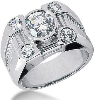 Platinum Mens Round & Oval Diamonds Ring 2.80ct: This Platinum Men's Diamond Ring features 2.80 carats of round diamonds (5 diamonds). The center diamond is 2ct. This men's diamond ring is available in Platinum, 18k or 14k yellow, rose, white gold, various sizes, and can be customized with any color and quality diamonds.