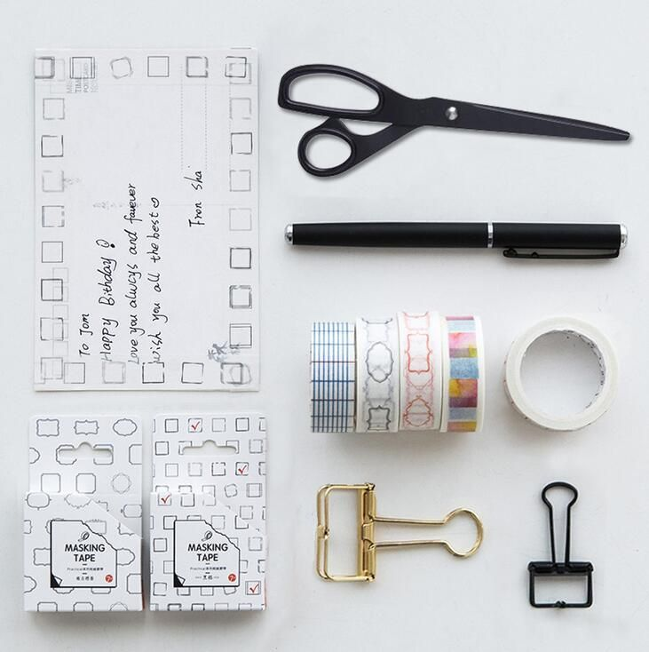 1.5cm*7m  Practical Series Attice Line Decorative Washi Tape Scotch DIY Scrapbooking Masking Craft Tape School Office Supply