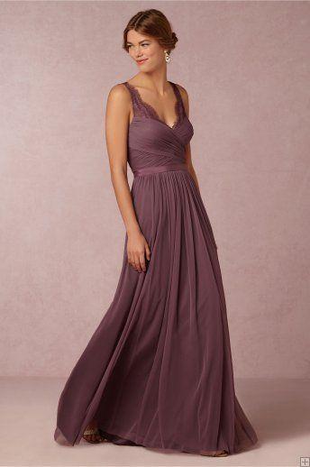 Vintage Lace Straps Pleated Long Chiffon Eggplant Bridesmaid Dress