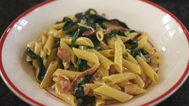 penne-met-spinazie-en-pancetta