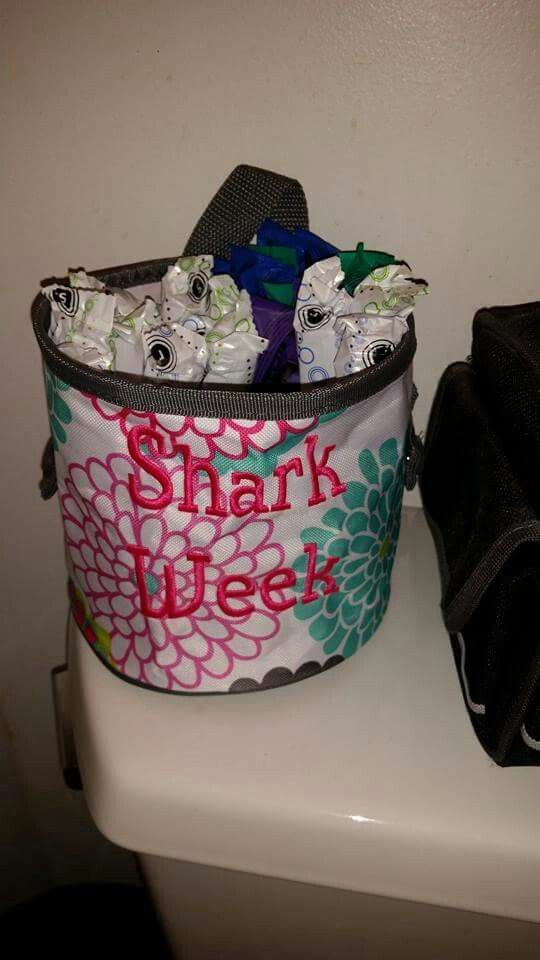 Funny but handy way to organize tampons and/or pads during that time of the month!