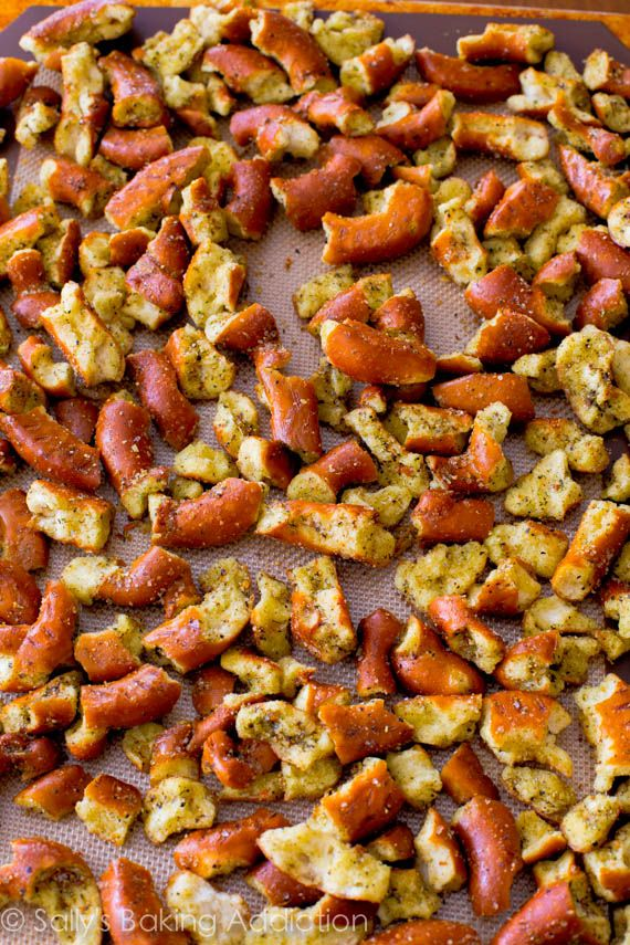 Seasoned Pretzels. An easy, addicting salty snack everyone will love! Recipe at sallysbakingaddiction.com