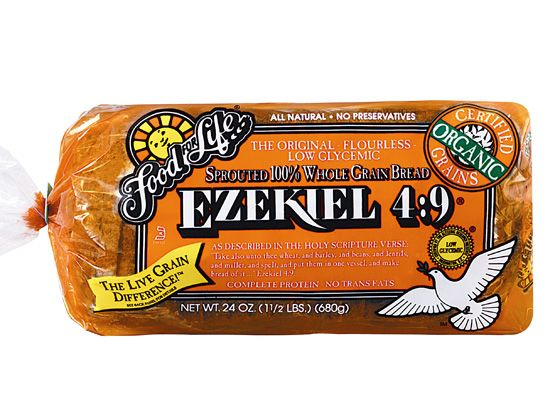 Ezekiel Bread! no flour , no preservatives, 80 calories a slice. so delicious, so hearty, so healthy. =)