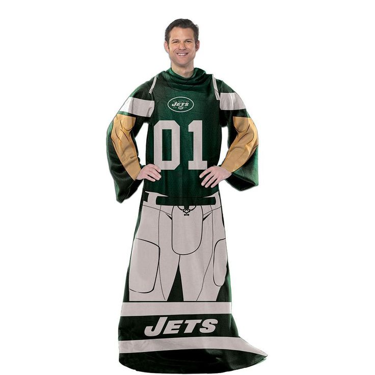 New York Jets NFL Uniform Comfy Throw Blanket w/ Sleeves https://www.fanprint.com/licenses/new-york-jets?ref=5750