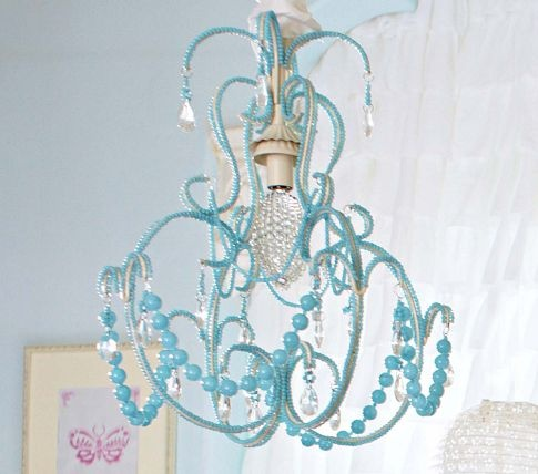 i love the blue beaded chandelier for a baby girlu0027s room