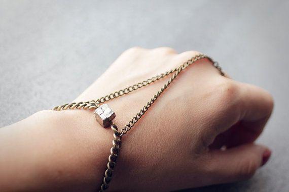 Pyrite and brass hand piece, slave bracelet, bohemian harness, body jewellery