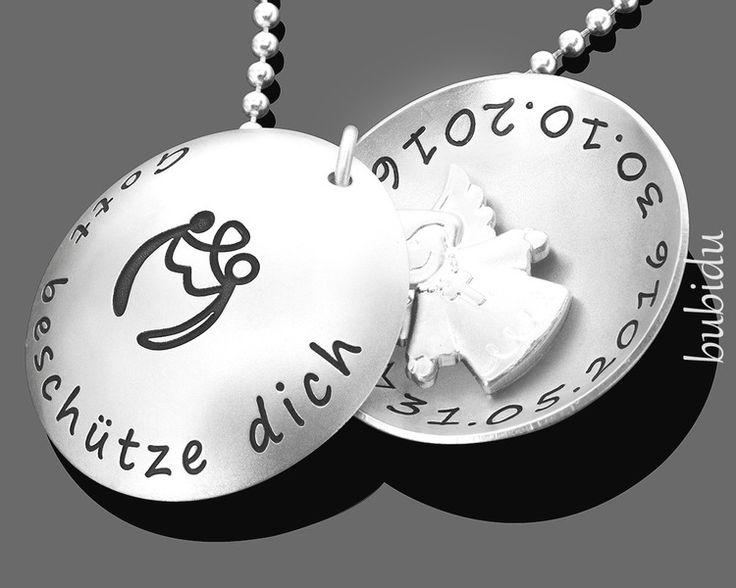Taufschmuck - TAUFE MEDAILLON KETTE GRAVUR, TAUFKETTE MIT ENGEL - ein Designerstück von bubidu bei DaWanda