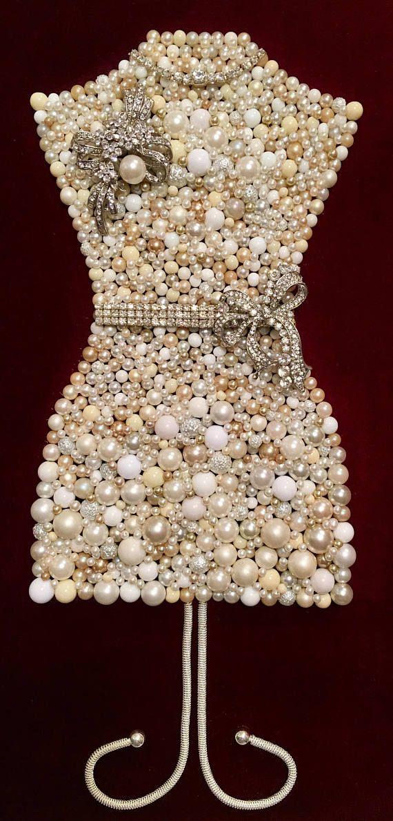 Beautiful Vintage Jewelry Framed Art Handmade Dress Form