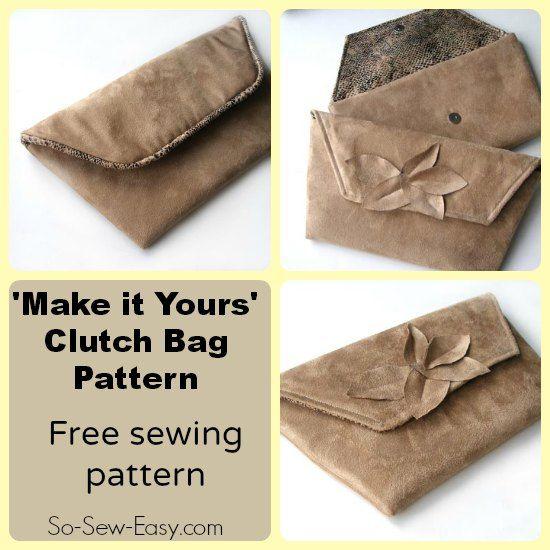 'Make it Yours' modèle de sac d'embrayage.  Patron gratuit avec des idées sur la façon de personnaliser le sac pour en faire le vôtre.