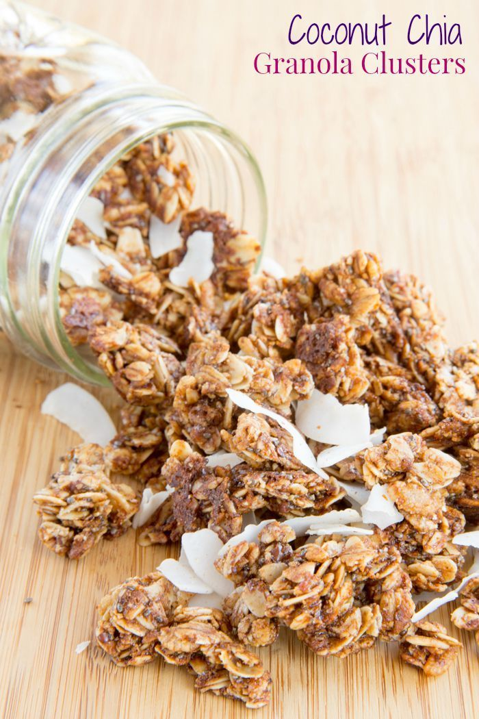Coconut Chia Granola Clusters - add serious crunch factor and superfood goodness to your breakfast or snack. #TopItTuesday with @LoveMySilk #AD | cupcakesandkalechips.com | gluten free, dairy free, nut free recipe
