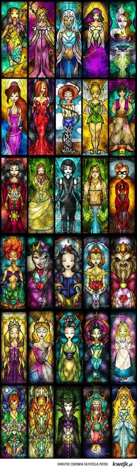 Stained glass. Various popular characters