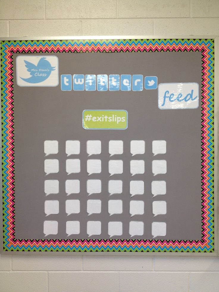 My exit slip twitter feed for 7th grade reading--Students complete exit slip on a post-it note & stick it to a laminated speech bubble for me to review. http://www.teacherspayteachers.com/Product/Twitter-Bulletin-Board-for-Exit-Slips-1236189